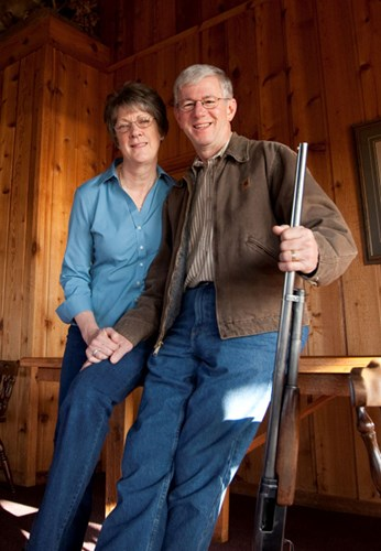 Larry and Brenda Potterfield inside their home.